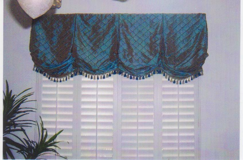 Tailored balloon valance with decorative trim