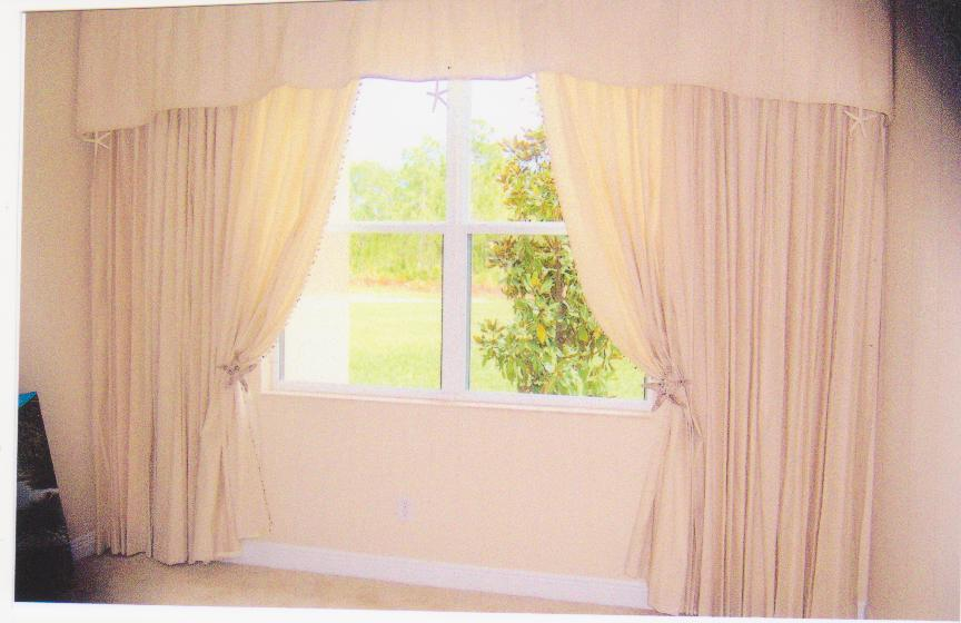 Custom Drapes - Pinch pleat drapes under coordinating valance
